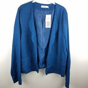 NWT JUSTFAB Open Front Scalloped Linen Cardigan